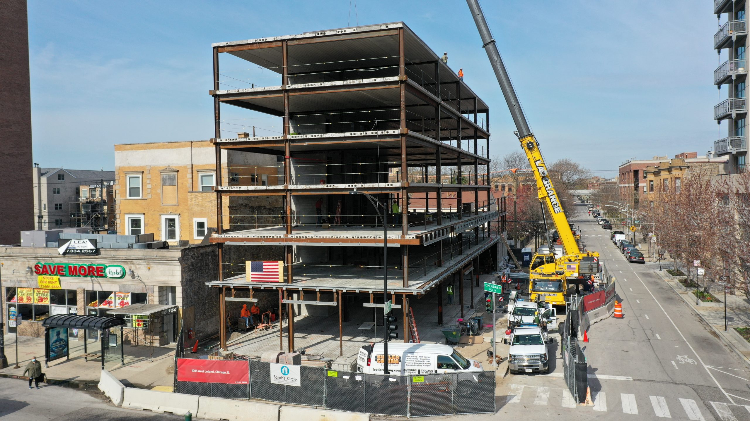 Skender Tops Out on Six-story Women's Shelter on Chicago's North Side